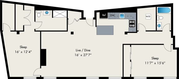 Two Bedroom Floor plan at The Lofts at Gin Alley