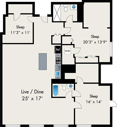 Three Bedroom Floor Plan at The lofts at gin alley