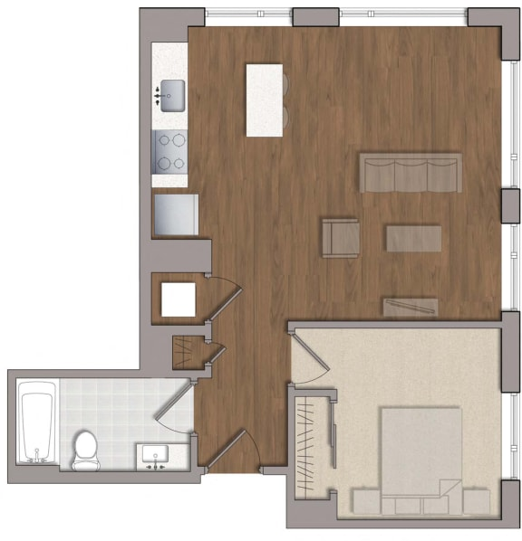 A2 Floor Plan at The George, Wheaton, MD, 20902