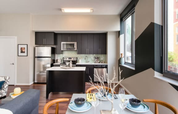 Fully Equipped Kitchen With Modern Appliances at The George, Wheaton, MD, 20902