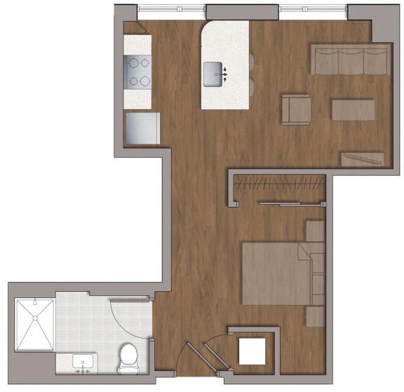 S1 Floor Plan at The George, Wheaton, 20902
