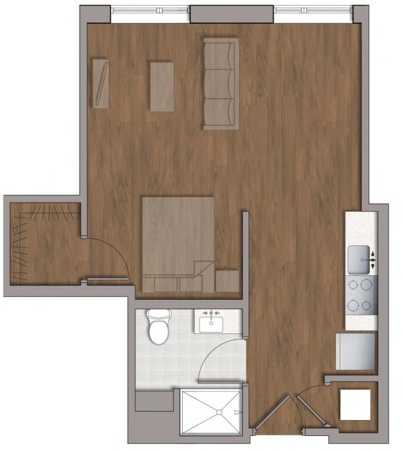 S3 Studio Floor Plan Layout at The George, Wheaton, MD