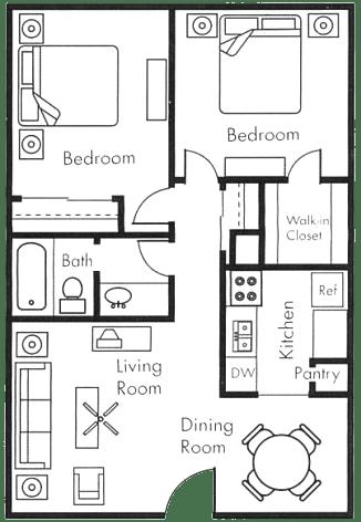 Floor Plan  2x1 A