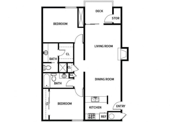 Floor Plan  B2 floor plan at Hilltop Commons Apartments in San Pablo, CA