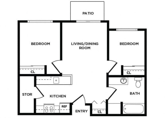 Floor Plan  B1 at Lakewood Meadows Apartments in Lakewood WA