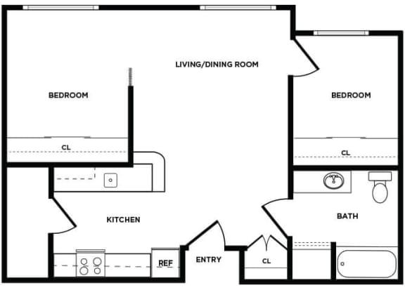 Floor Plan  B3 floor plan at Boardwalk Apartments
