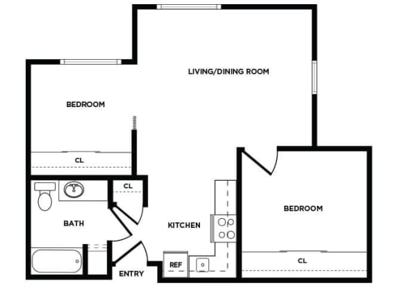 Floor Plan  B4 floor plan at Boardwalk Apartments