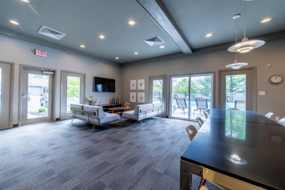 Ample Sitting Space In Clubhouse at Woodbridge Apartments, Louisville, Kentucky