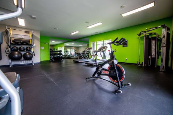 Cardio Machines In Gym at Woodbridge Apartments, Kentucky