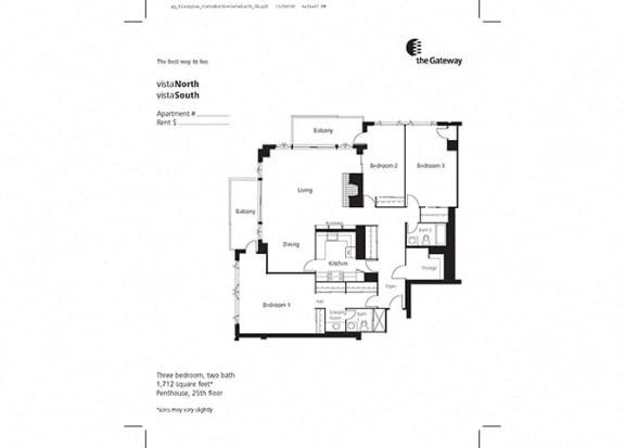 Floor Plan  3 Bedroom Penthouse
