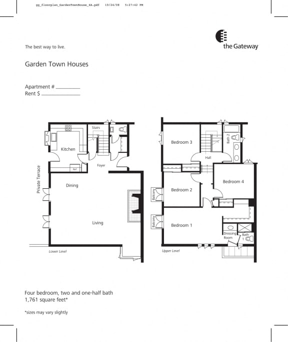 Town house floor plan 1761 sf