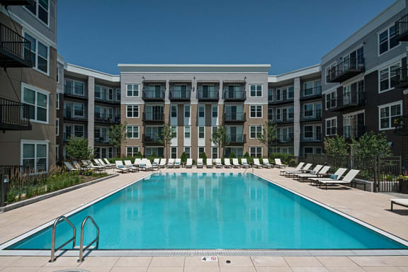 Relaxing Swimming Pool With Sundeck at Marq on Main, Lisle, IL