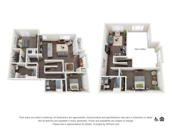 Floor Plan  2 Bed 2 bath townhome