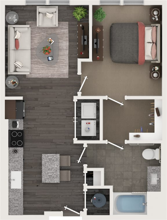 One Bed One Bath Floor Plan at Cameron Square, Alexandria, 22304