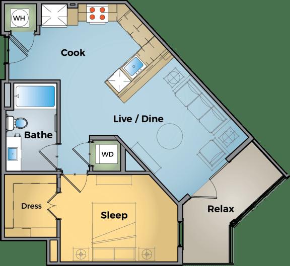 1 Bedroom 1 Bathroom Floor Plan at Cameron Square, Alexandria