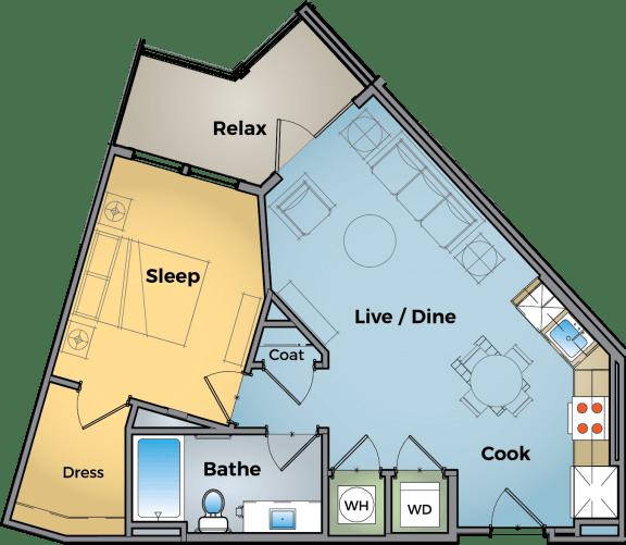 1 Bed 1 Bath Floor Plan at Cameron Square, Virginia