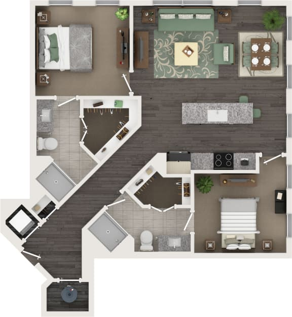 2 Bed 2 Bath Floor Plan at Cameron Square, Alexandria, VA