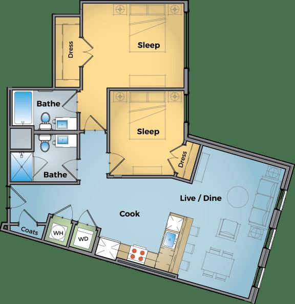 Two Bed Two Bath Floor Plan at Cameron Square, Alexandria, VA, 22304