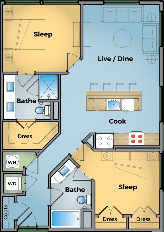 2 Bedroom 2 Bathroom Floor Plan at Cameron Square, Alexandria, VA