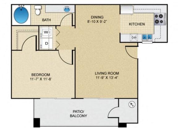 Floor Plan  1 bedroom 1 bathroom A