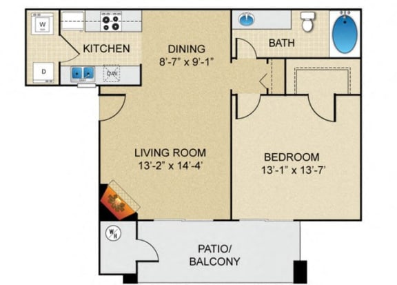 Floor Plan  1 bedroom 1 bathroom B