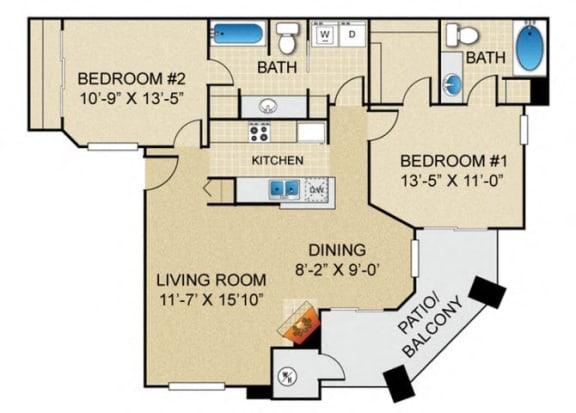 Floor Plan  2 bedroom 2 bathroom B