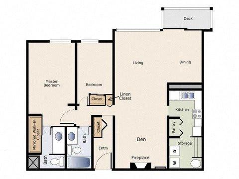 Yarrowood Highlands Apartments 2 Bedroom 2 Bath Floor Plan
