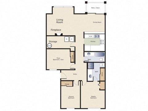 Yarrowood Highlands Apartments 3 Bedroom 1 and a Half Bath Floor Plan
