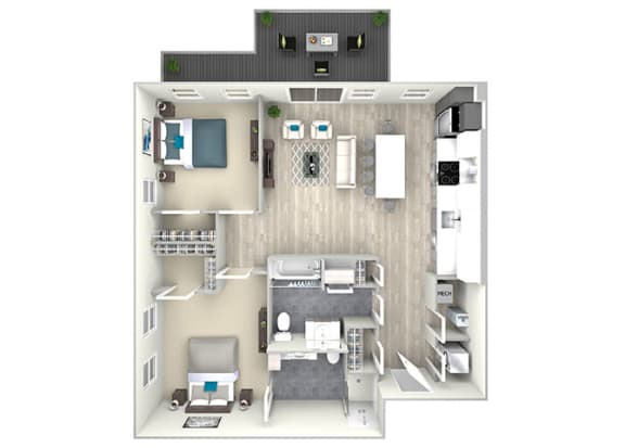 Two Bed Two Bath with Large Patio 1067 Floor Plan at Nightingale, Providence, Rhode Island