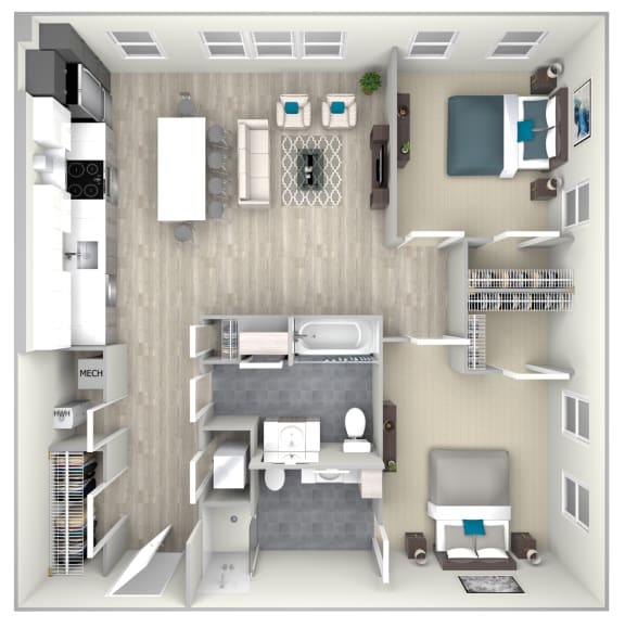 Two Bed Two Bath 1093 Floor Plan at Nightingale, Providence, Rhode Island