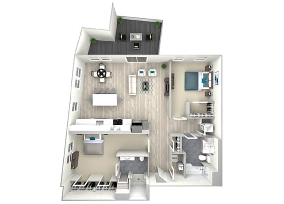 Two Bed Two Bath with Large Patio 1093 Floor Plan at Nightingale, Providence