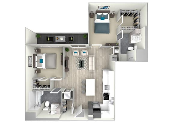 Two Bed Two Bath with Balcony 1099 Floor Plan at Nightingale, Rhode Island, 02903