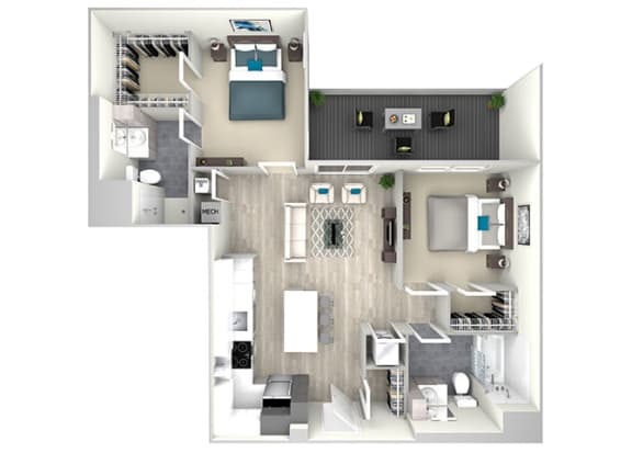 Two Bed Two Bath with Large Balcony 1099 Floor Plan at Nightingale, Providence, RI, 02903