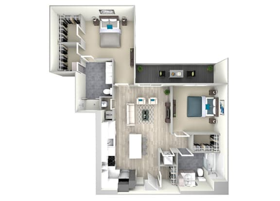 Two Bed Two Bath with Balcony 1127 Floor Plan at Nightingale, Providence, Rhode Island