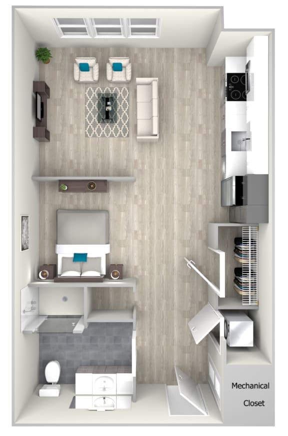 Studio One Bath 531 Floor Plan at Nightingale, Providence