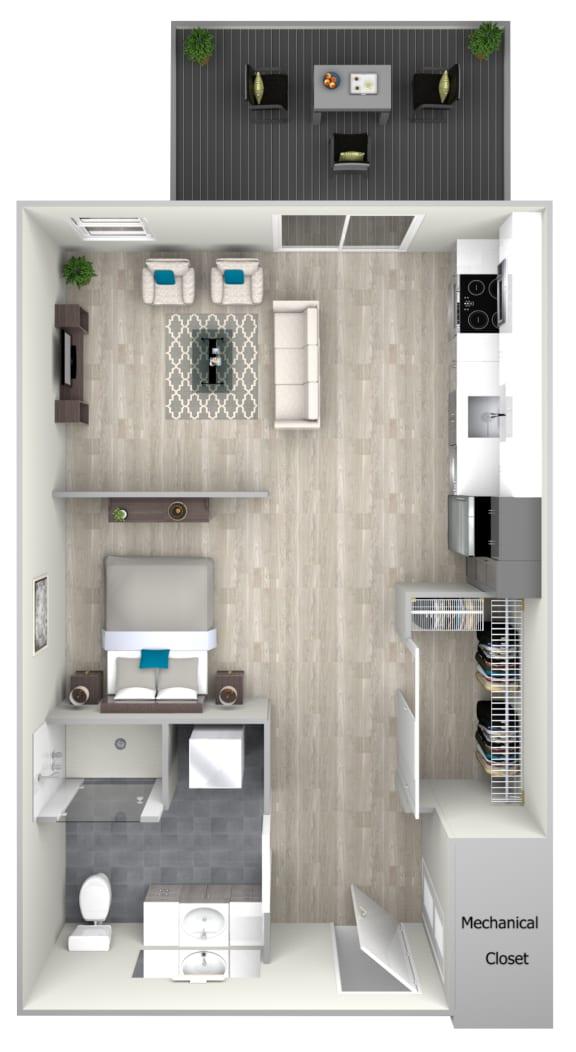 Studio One Bath with Patio Floor Plan at Nightingale, Rhode Island
