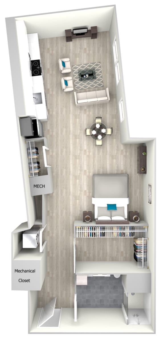 Studio One Bath 705 Floor Plan at Nightingale, Providence, RI