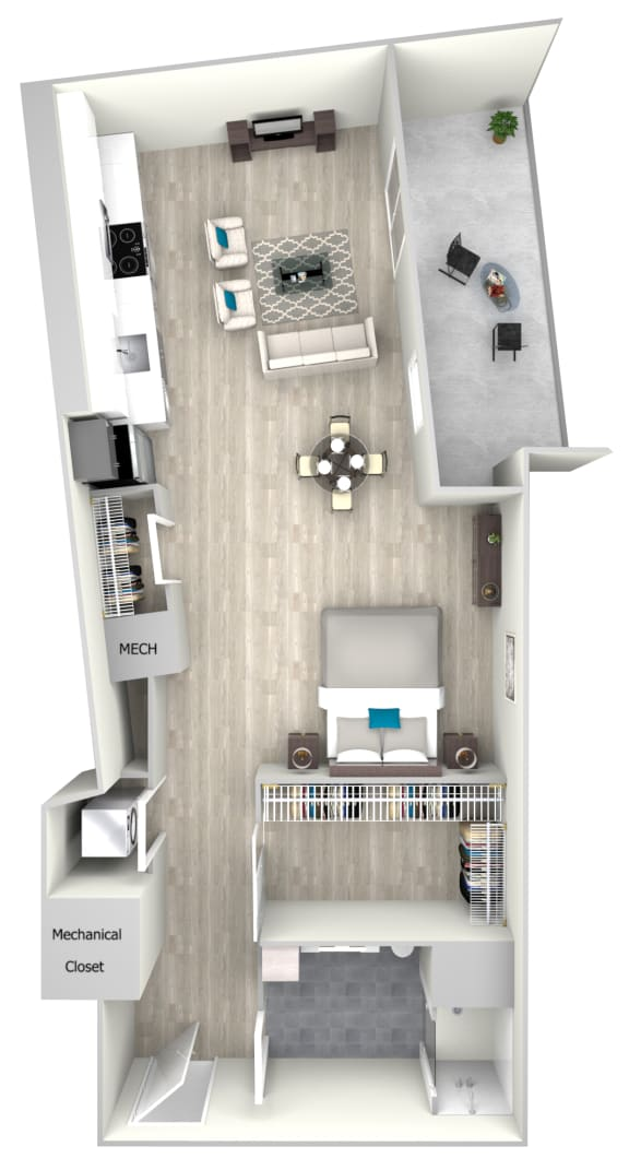 Studio One Bath with Balcony 705 Floor Plan at Nightingale, Providence, 02903