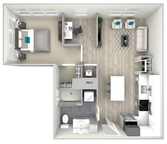 One Bed One Bath 753 Floor Plan at Nightingale, Providence, RI, 02903