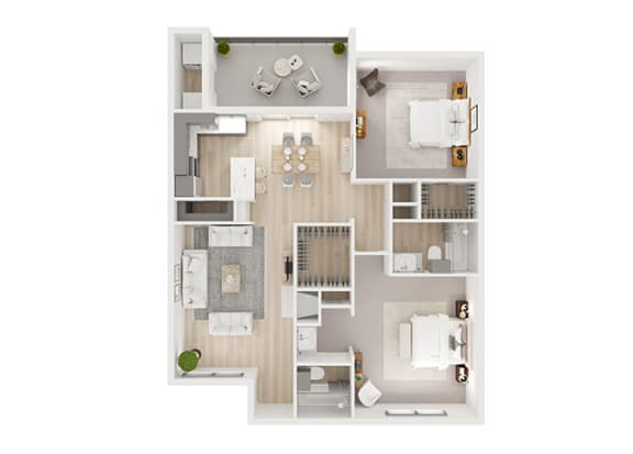 H Floor Plan at Toro Place Apartments, CLEAR Property Management, Houston, TX, 77035