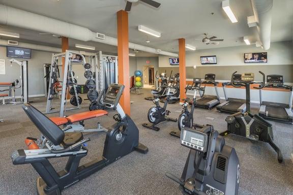 Gym at 3 Bedroom Apartments Near Promenade Shops at Briargate Colorado Springs