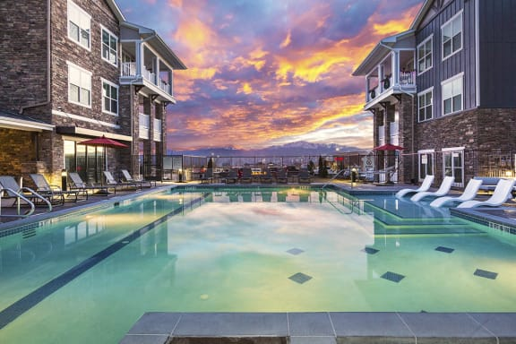 Beautiful Swimming Pool at Sunset at Colorado Springs Apartment Homes for Rent