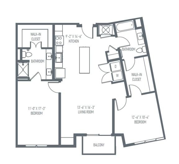 Floor Plan  D3 | D4 Floor Plan at Union Berkley, Kansas City, Missouri, opens a dialog