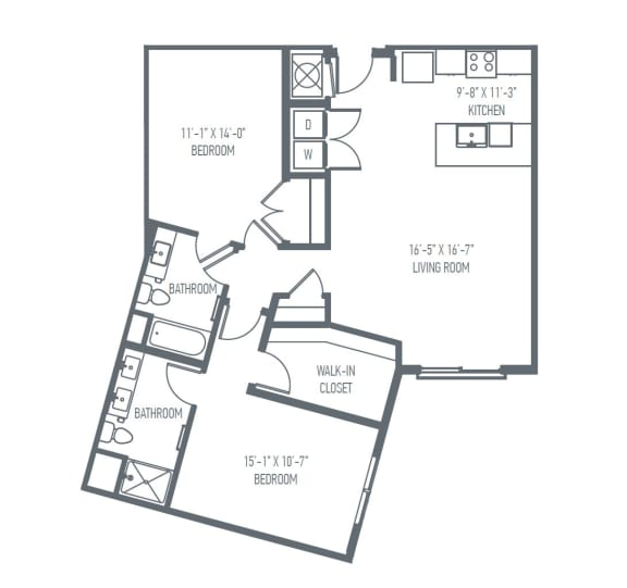 D6 Floor Plan at Union Berkley, Kansas City, 64120