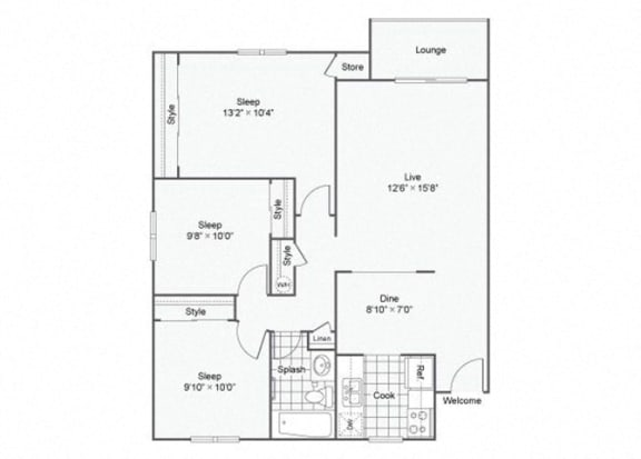Floor Plan  3 Bed 1 Bath