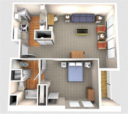 Floor Plan  1 Bedroom 1A