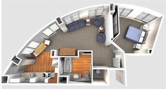Floor Plan  1 Bedroom 1B