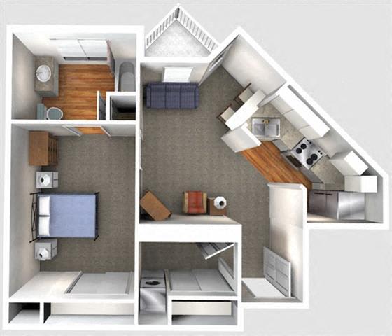 Floor Plan  1 Bedroom 1C