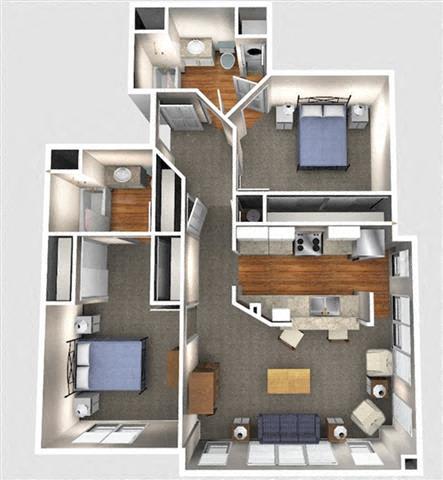 Floor Plan  2 Bedroom 2D