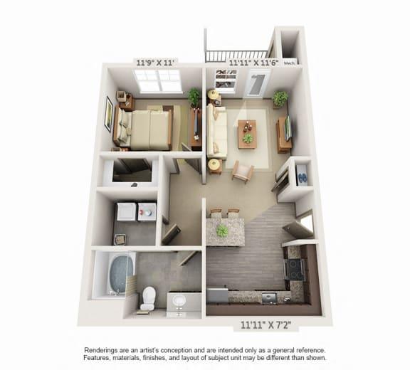 Floor Plan  Woodview 1BR 1 BA 773sqft A2